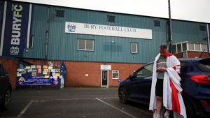 Fans outside Bury FC today