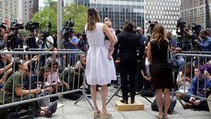 The women speak outside the US Federal Court in New York