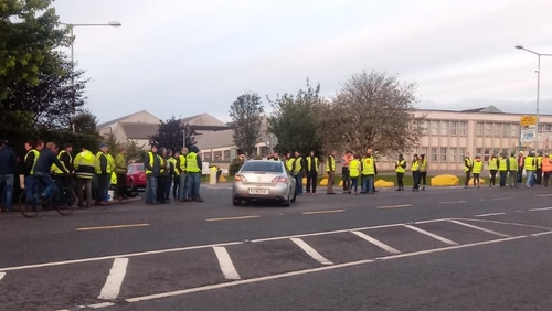 A protest outside Dawn Meats in Grannagh, Co Waterford