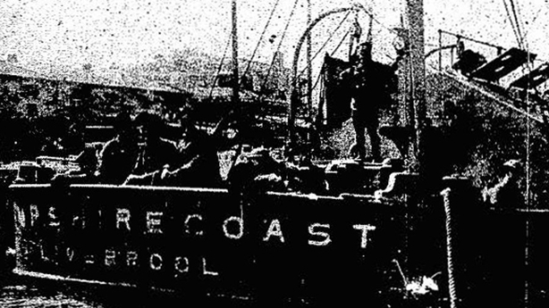 The SS Hampshire Coast, with armed guards on board Photo: Cork Examiner, 3 September 1919