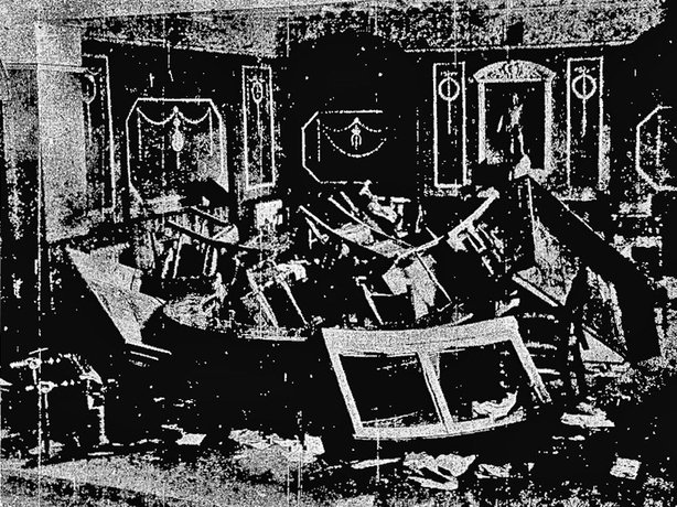 The damage to the Limerick council chamber after the scenes Photo: Cork Examiner, 10 September 1919
