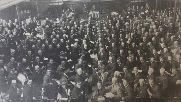 Sir Edward Carson and the Marquis of Londonderry on a platform at the head of members of the Ulster Unionist Council Photo: Irish Life, 12 June 1919. Full collection available from the National Library of Ireland