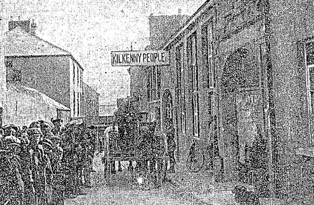 Vital machinery being removed from the 'Kilkenny People' premises by the military. Press censorship was introduced under the Defence of the Realm Act after the outbreak of the war Photo: Irish Independent, 14 August 1919