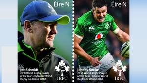 The €1 stamps feature the images of Joe Schmidt and Johnny Sexton