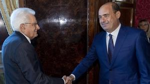 Italian President Sergio Mattarella (L) meets Democratic Party leader, Nicola Zingaretti, in Rome
