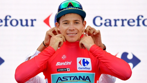 Miguel Angel Lopez has taken over the leader's red jersey