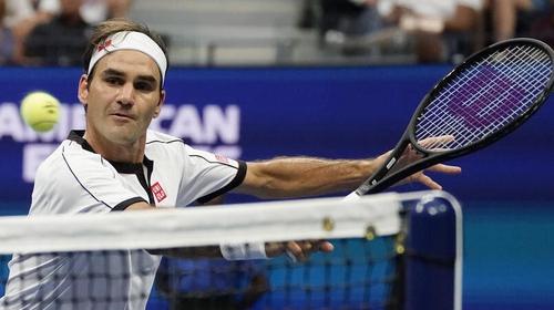 Roger Federer at the net