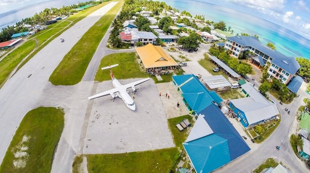 An airplane on the apron of Tuvalu international airport