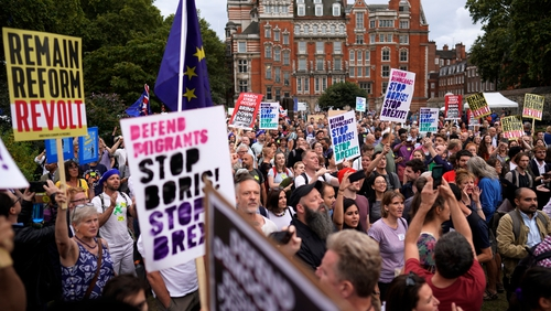 People take to the streets near Westminster over Boris Johnson's decision