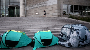 A protest was held to highlight an increase in the number of homeless people using tents