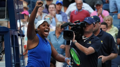 Taylor Townsend celebrates defeating Simona Halep