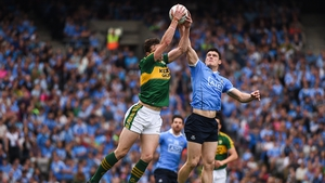 David Moran of Kerry and Dublin's Brian Fenton in action during the 2016 All-Ireland semi-final between the sides