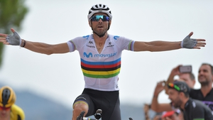 Alejandro Valverde crosses the line in Mas de la Costa