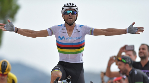 Alejandro Valverde crosses the line in Mas de la Costa