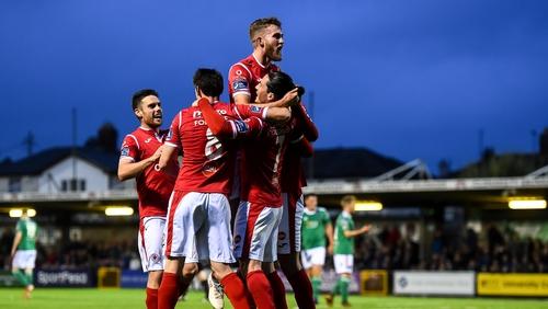 Ronan Coughlan celebrates a goal against Cork City
