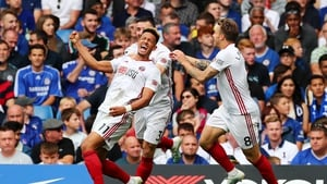Callum Robinson celebrates his goal against Chelsea