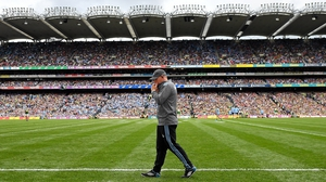 The Dubs boss patrols the line at Croke Park