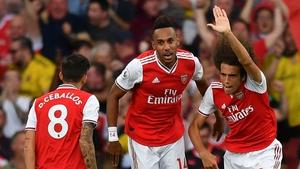 Aubameyang (c) equalised for Arsenal