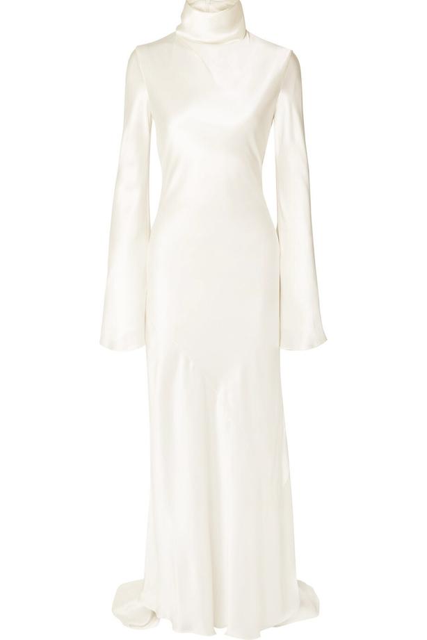 Ellery Silk-satin Turtleneck Gown