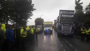 An ambulance arrives at Liffey Meats in Ballyjamesduff
