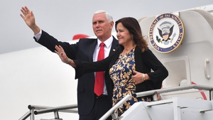 US Vice President Mike Pence and his wife Karen arrive at Shannon airport