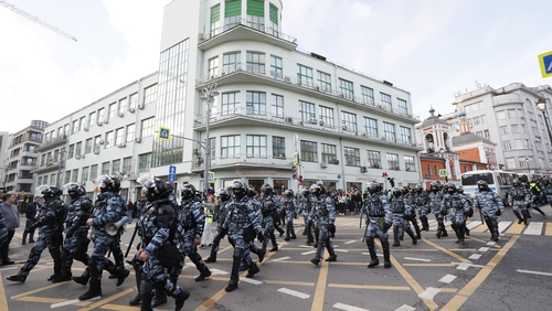 Russian riot police in the centre of Moscow