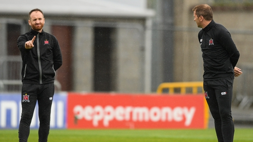 Stephen O'Donnell and Vinny Perth on the Dundalk training ground