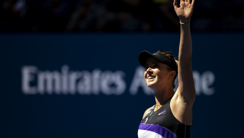 Elina Svitolina of Ukraine celebrates her victory over Johanna Konta