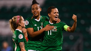 Katie McCabe celebrates her goal against Montenegro