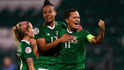 Katie McCabe celebrates her goal against Montenegro
