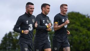 Seamus Coleman training alongside Jack Byrne and James McClean