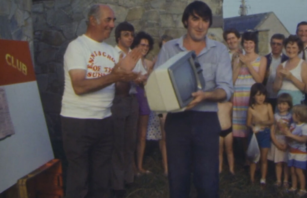 Edward Rafter having won a portable TV set, Enniscrone (1984)