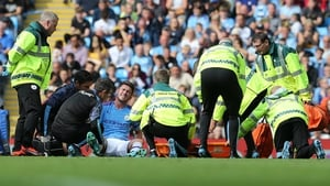 Aymeric Laporte sustained his injury in a tackle with Adam Webster in the first half of Man City's 4-0 Premier League win over Brighton