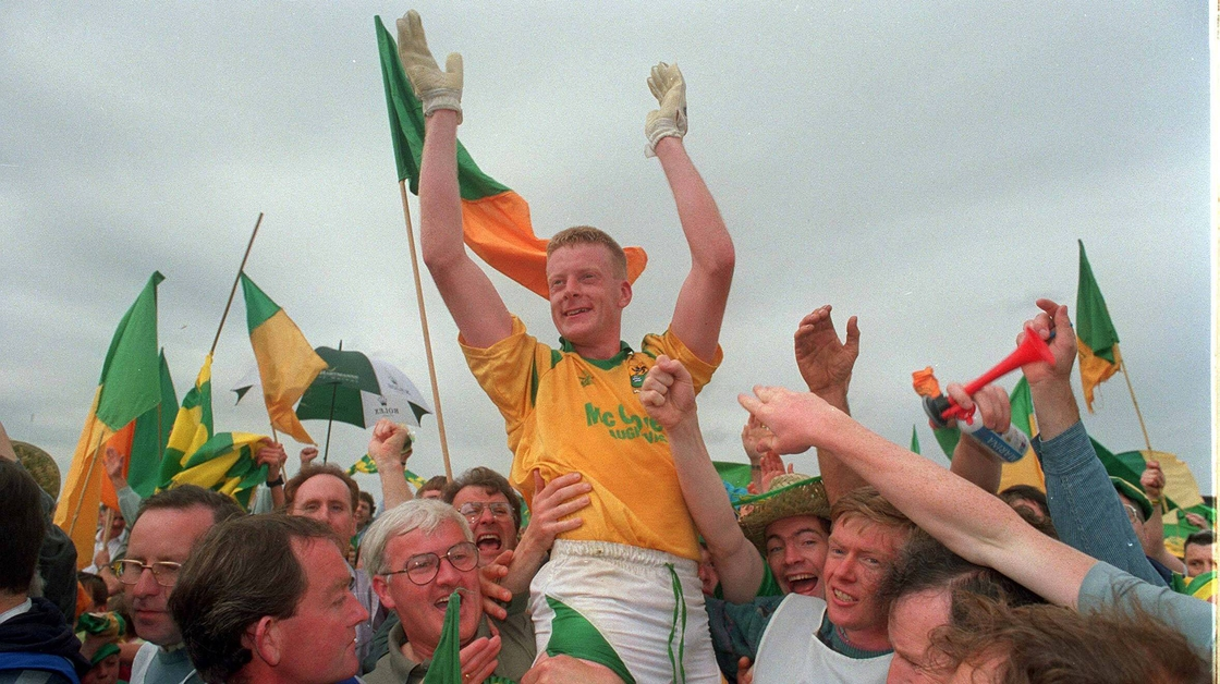 Image - Declan D'Arcy is held aloft after Leitrim's victory over Mayo in the 1994 Connacht football final
