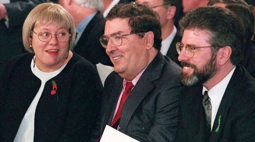 Mo Mowlam, John Hume and Gerry Adams - for Adams, independence comes before socialism in the order of priority.