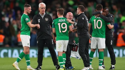 The Irish manager congratulates his players following the 1-1 draw with Switzerland