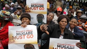People taking part in mass action protests against  Robert Mugabe, in Harare in November 2017