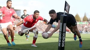 New Zealand's young winger George Bridge ran in four tries as Tonga were battered in Waikato