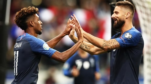 Kingsley Coman and Olivier Giroud scored three of France's four goals in Paris