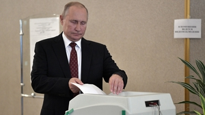 President Putin voted at his usual polling station at the Russian Academy of Sciences in Moscow
