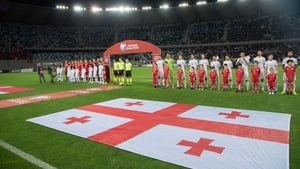 Georgia and Denmark players lineup ahead of the 0-0 draw in Tbilisi