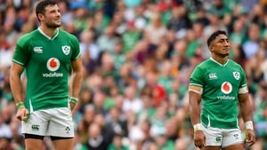 Robbie Henshaw and Bundee Aki in action against Wales