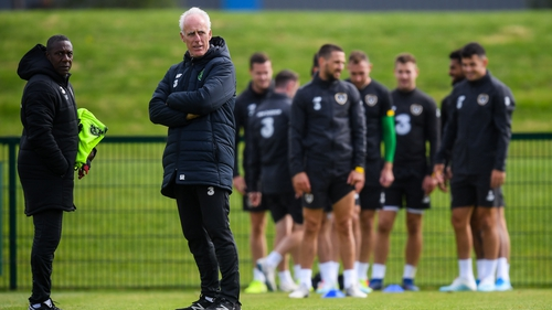 Republic of Ireland manager Mick McCarthy and assistant coach Terry Connor (L) during training on Monday
