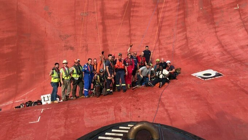 The crew members were rescued from the Golden Ray after a hole was cut in the hull (Pic US Coast Guard)