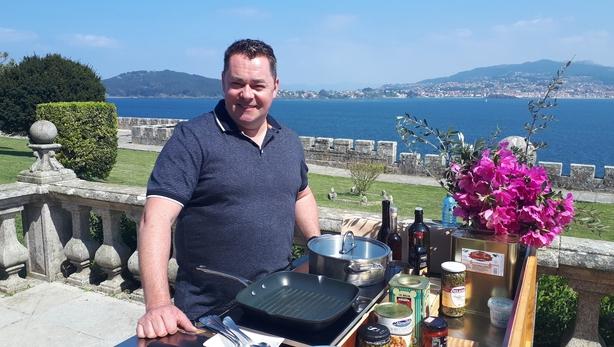 Neven cooking at the Parador de Baiona in Galicia