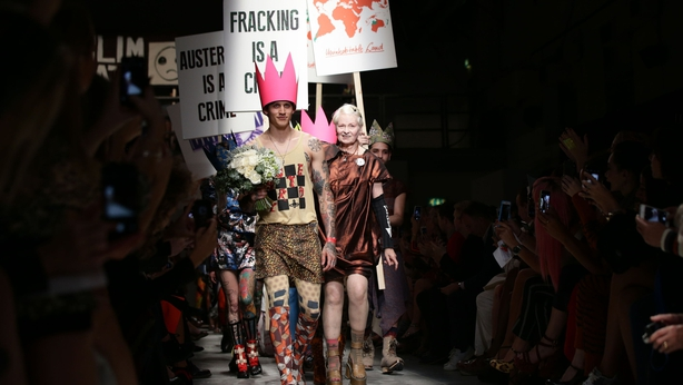 Vivienne Westwood and models on the catwalk during Spring/Summer 2016 show (Yui Mok/PA)