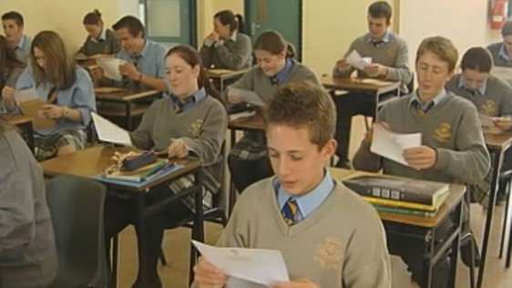 Students in Wilson's Hospital School opening their Junior Cert results (2004)