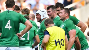 Rory Best talks to his team-mates during the record defeat to England