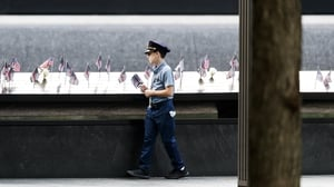 New Yorkers held two moments of silence, at the times the two planes struck the North and South Towers
