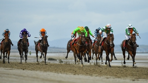 Kickback and don't relax - Royal Admiral and his opponents send the sand flying in the O'Neills Sports (Q.R.) Handicap